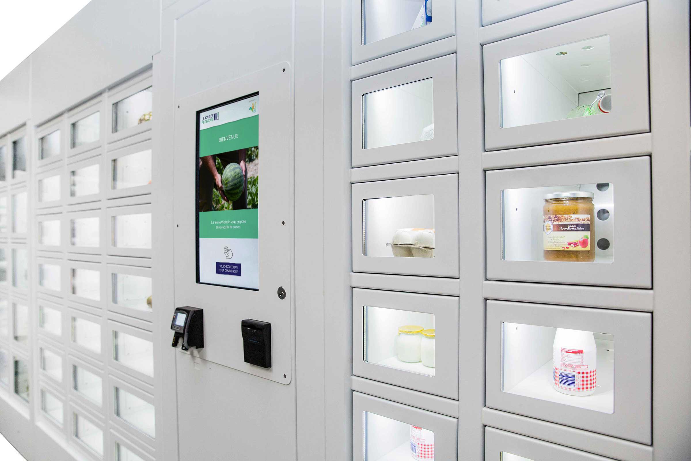 Productos lácteos en una máquina expendedora Le Casier Français