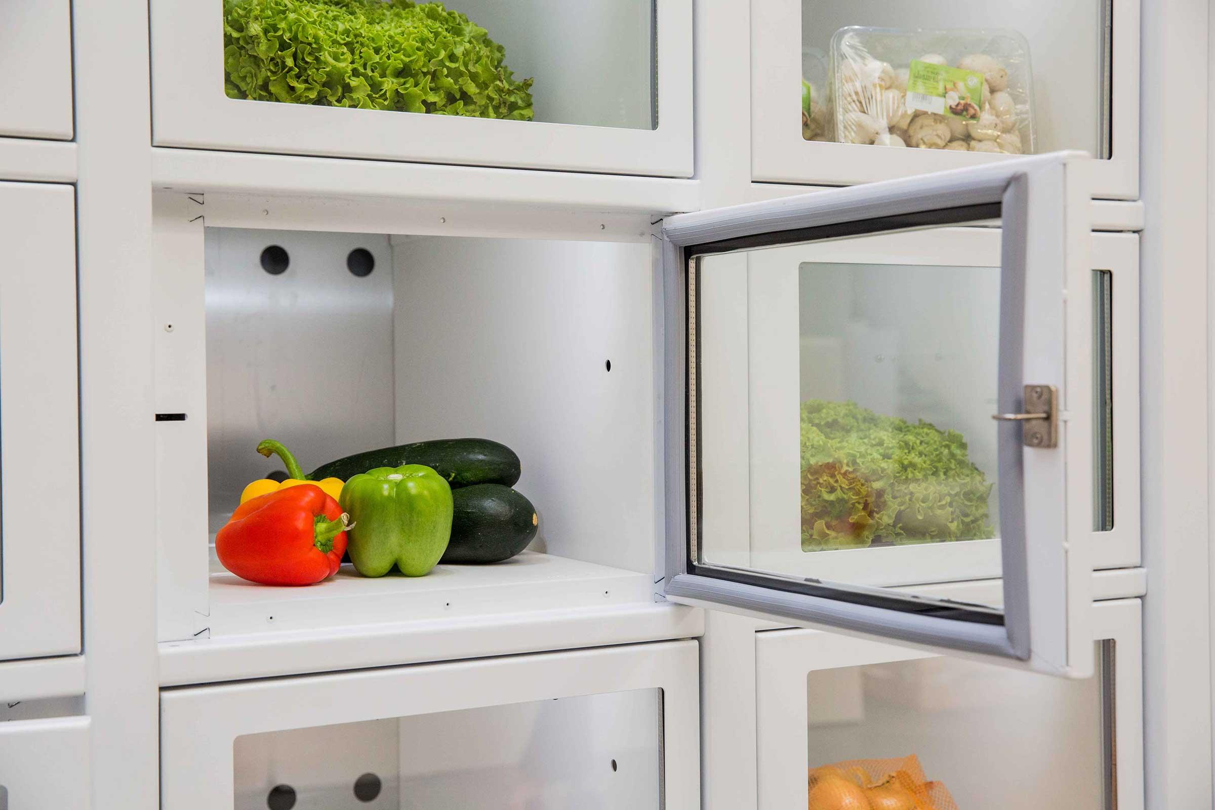 Verduras en una máquina expendedora Le Casier Français