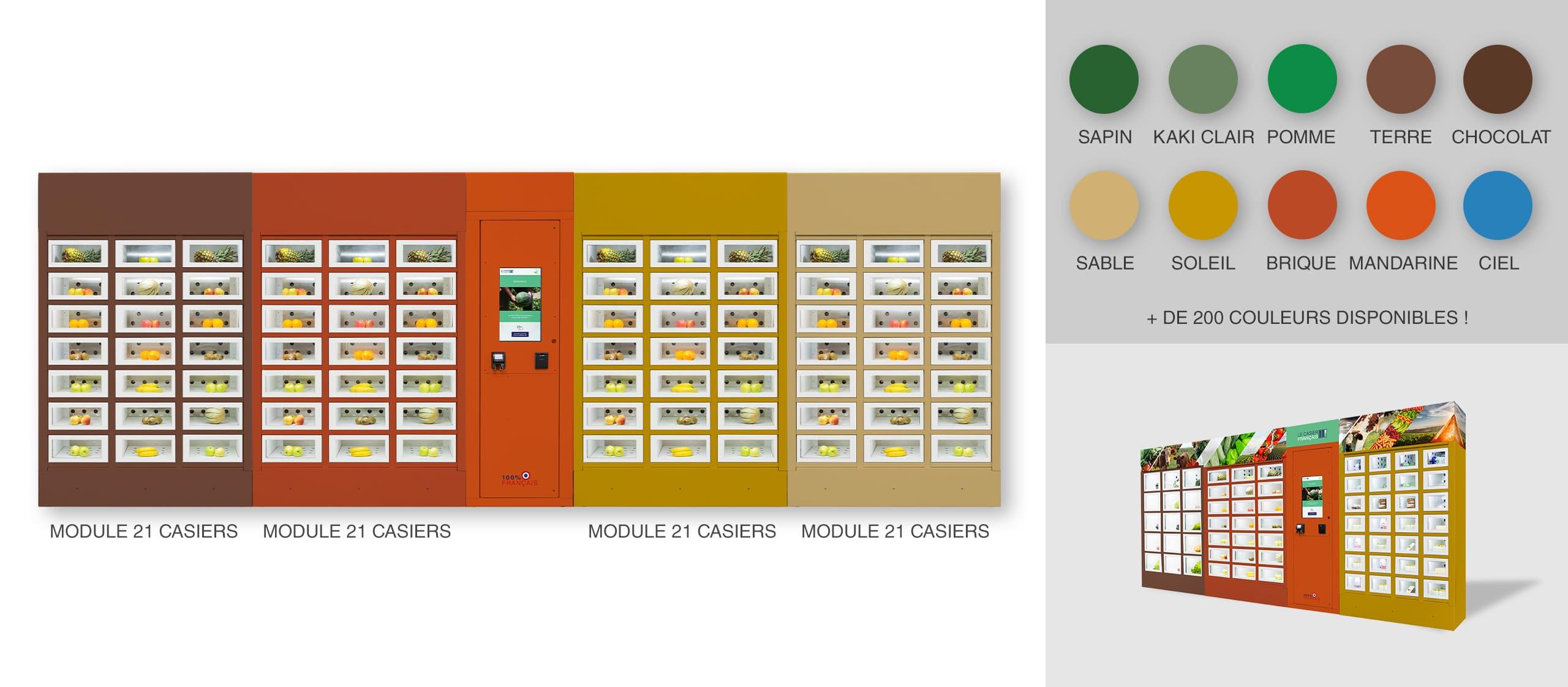 Vestir diferentes colores por módulo de una máquina expendedora Le Casier Français