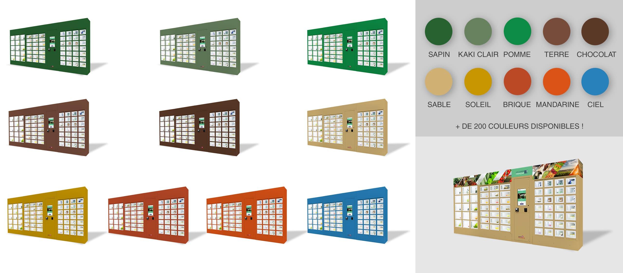 Diferentes colores de una máquina expendedora Le Casier Français